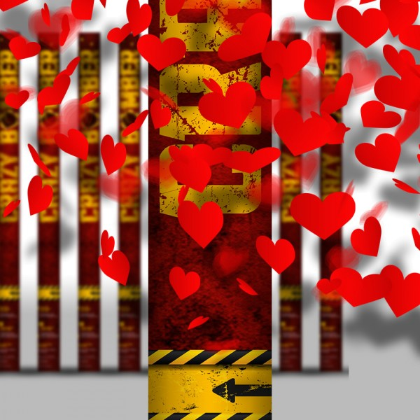 Konfettikanone - Rote Herzen