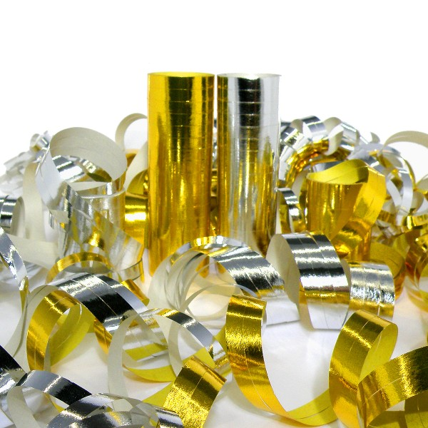 720 Luftschlangen Sortiment, 4m, Gold + Silber (metallic) – 40x 18 Ringe