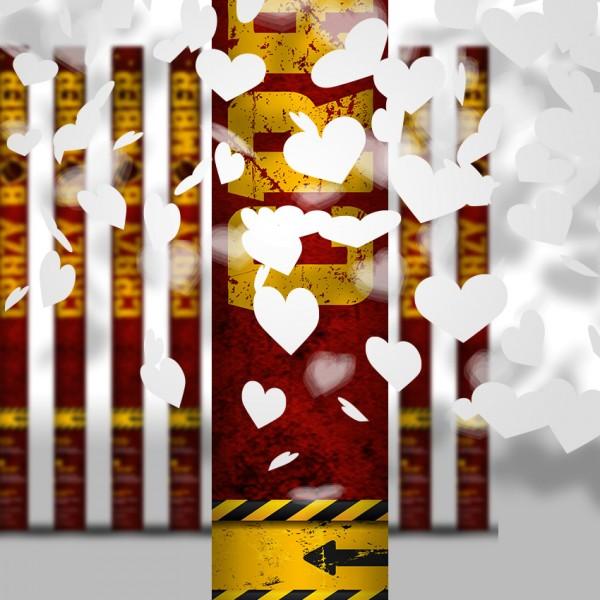 Konfettikanone - Weiße Herzen