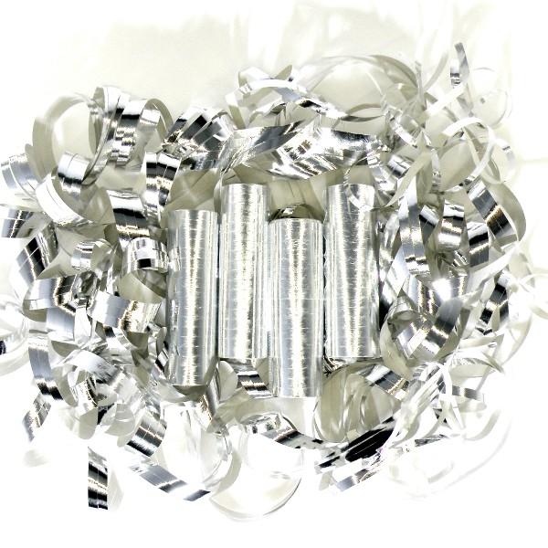 72 Luftschlangen, 4m, Silber (metallic) – 4x 18 Ringe