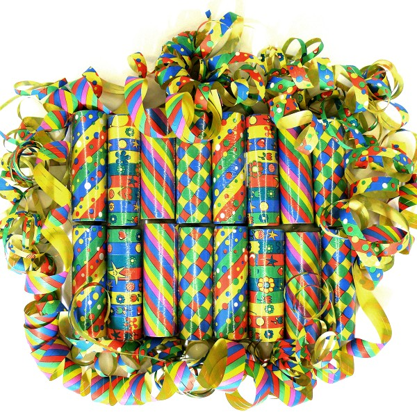 288 Luftschlangen Motiv-Sortiment, 4m, 5 Farben, bunt sortiert – 16x 18 Ringe