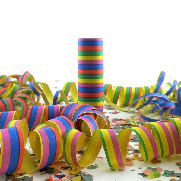 18 Luftschlangen, schwer entflammbar, 4m, 5 Farben – 18 Ringe