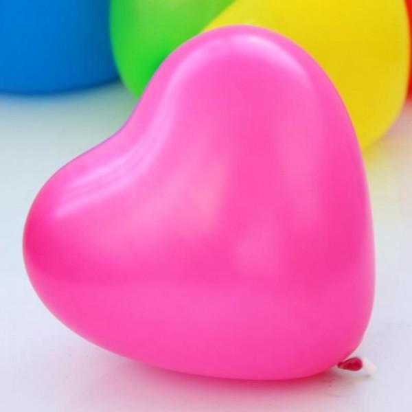 10 Luftballons, Rosa Herzen, 25cm - 10er Beutel
