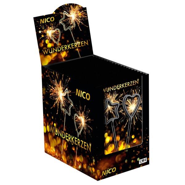 96 Symbol Wunderkerzen Herz & Stern im Display | 24x 4er Tüte